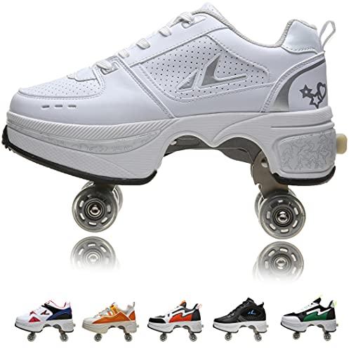 Women's Retractable Roller Skates Outdoor Girls Kick Roller Shoes Men Deformation Sneakers,White Silver (白银)-EU41/US9