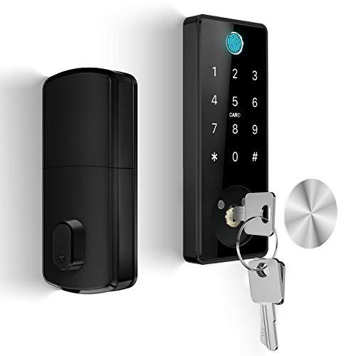 KUCACCI Smart Deadbolt Lock with Keypads, Biometric Electronic Door Lock, Keypad Door Lock, Fingerprint Door Lock Advanced Digital Auto Front Door Lock, Keyless Entry Door Lock for Home Office (Black)