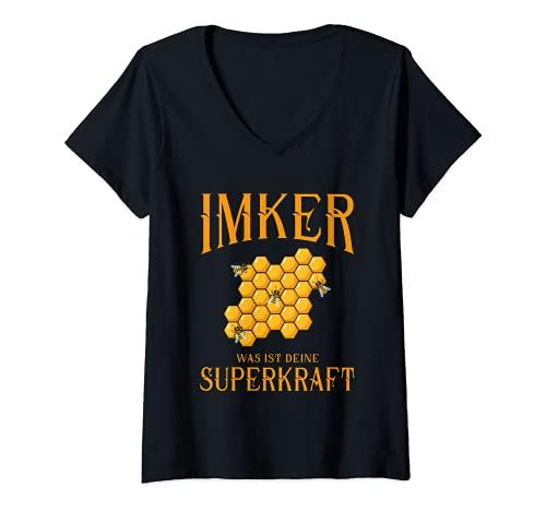 Mujer Disfraz de apicultor. Camiseta Cuello V