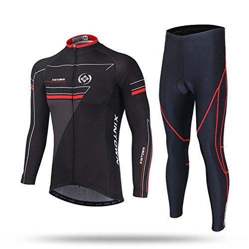 LSHEL Maillot de ciclismo Conjunto mangas largas Culote Pantalones Largos de Ciclisme...