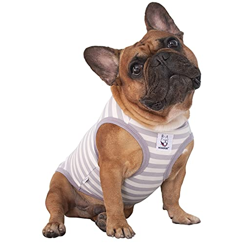 iChoue Dogs Clothes Vest T-Shirts for French Bulldog Pug Boston Terrier Frenchie Cute - Stripes of Grey and White-M
