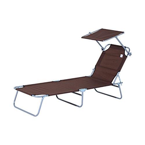 Outsunny Sonnenliege Gartenliege Wellnessliege Strandliege klappbar mit Sonnenschutz (Braun)
