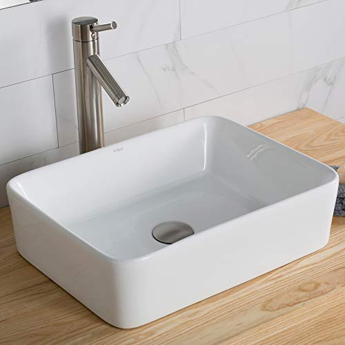 Kraus C-KCV-121-1002SN White Rectangular Ceramic Sink and Sheven Faucet Satin Nickel