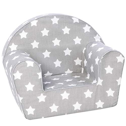 DELSIT Toddler Chair & Kids Armchair - European Made Premium Design - Perfect Reading Chairs for Toddlers - Lightweight Playroom Decor (Gray with Stars)
