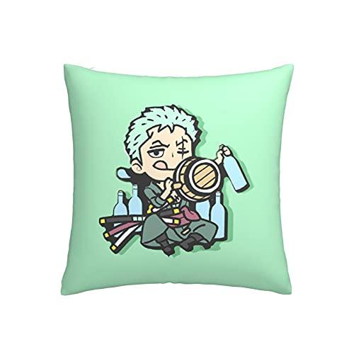 Anime - Funda de almohada Zoro de una pieza para sofá, decoración del hogar, se puede utilizar en la oficina, el coche, la cabecera de 45,7 x 45,7 cm, lindo dibujo animado, suave y cómodo