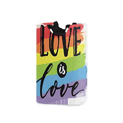 N\A Cesto de Ropa, Love is LGBT Rainbow Cestas de Almacenamiento de Ropa Ropa Plegable Bolsa de Organizador de Juguetes para dormitorios Cuarto de Lavado Baño