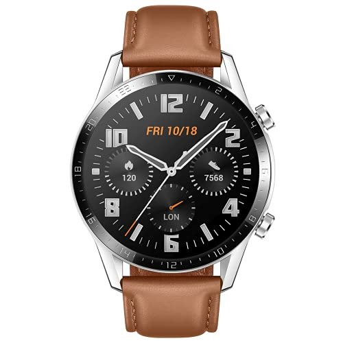 HUAWEI Watch GT 2 2019 Bluetooth SmartWatch, Sport GPS 14 Days Working Fitness Tracker, Blood Oxygen Monitor Heart Rate Tracker Waterproof for Android, 46mm, Brown