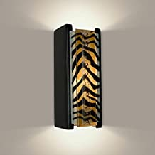 product image for A19 Safari Wall Sconce, 3.75-Inch by 4.25-Inch by 10.75-Inch, Matador Black Gloss/Zebra Caramel