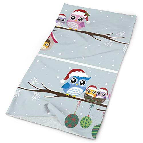 GUUi Headwear Headband Head Scarf Wrap Sweatband,Owl Family with Santa Hats on Tree Branch with Babies in Nest Birds Snowy Winter Print,Sport Headscarves for Men Women