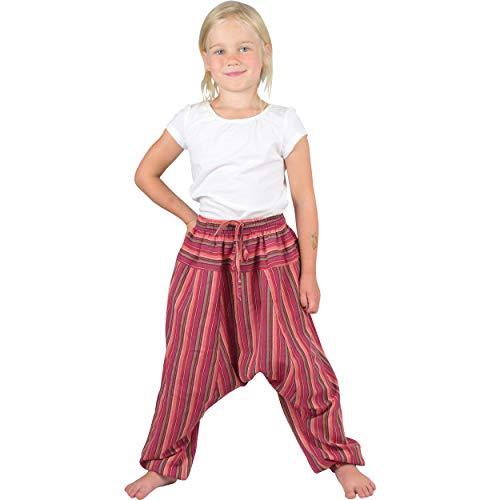 Nitya Design Haremshose für Kinder Stripe Pumphose Aladinhose Pluderhose rot 116/122