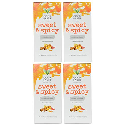 Good Earth Sweet & Spicy Flavored 25 Tea Bags 4 Pack Herbal Teas