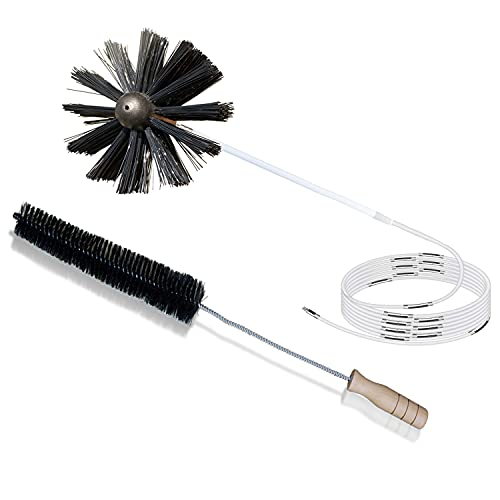 30 Feet Dryer Vent Cleaning Brush plus Refrigerator Condenser Coil Brush, Lint Remover, Fireplace Chimney Brushes, Extends Up to 30 Feet Use with or Without a Power Drill