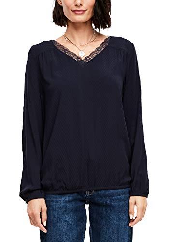 s.Oliver RED Label Damen O-Shape-Bluse mit Strukturmuster Navy 40