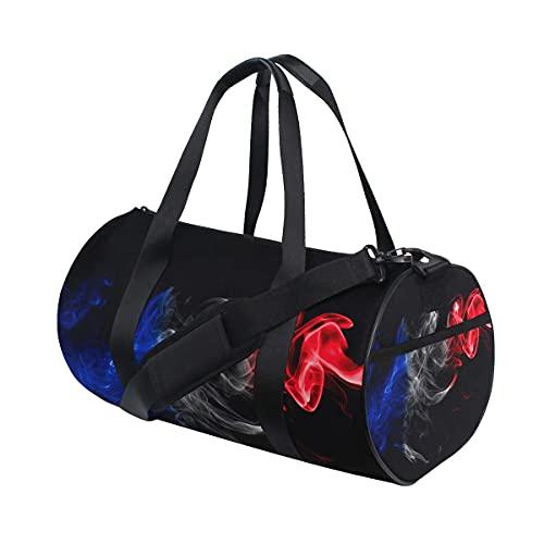 Bolsa de deporte para gimnasio, diseño de bandera de Francia, color rojo, azul, negro, con compartimento para zapatos y bolsillo húmedo para mujeres o hombres