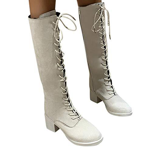 Fenverk Damen Reiterstiefel Flandell Mit Blockabsatz Schnüren Klassische Stiefel Winterstiefel Warm Schuhe GefüTtert Warme Stiefel Schwarz, Beige 35-40(Beige,36 EU)
