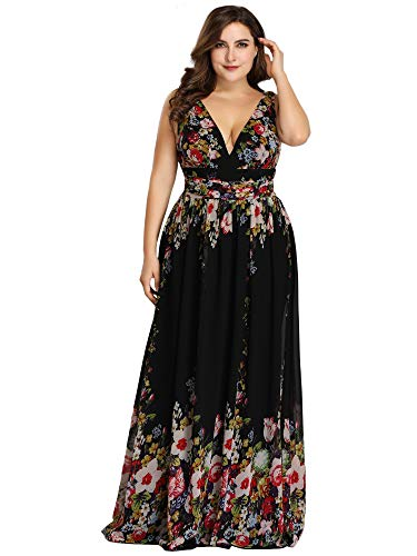 Ever-Pretty Womens Plus Size Long Formal Evening Party Bridesmaid Dresses Floral US 26 Chiffon Formal Evening Dress