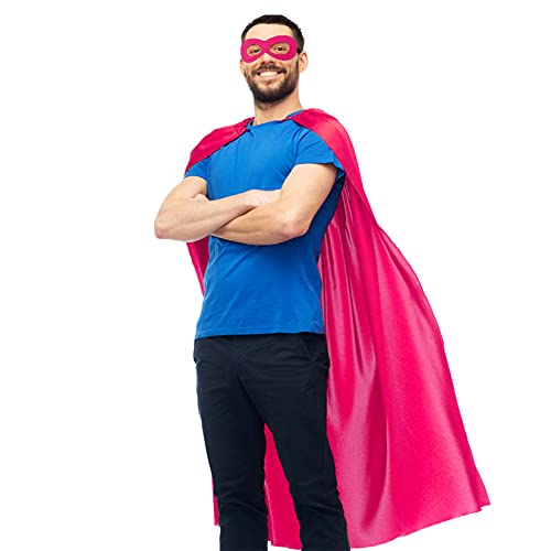 D.Q.Z Adults Superhero-Cape and Mask for Men Women – Masquerade Halloween Vampire Super Hero Dress-Up Costume Party Favors (Rose)