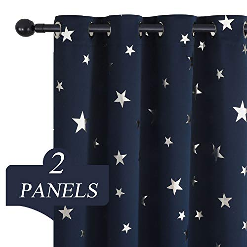 Estelar Textiler Navy Star Blackout Window Curtains for Kids Bedroom Room Darkening 63 Inch Length Thermal Insulated Curtains for Living Room 38W×63L Navy Blue 2 Panels