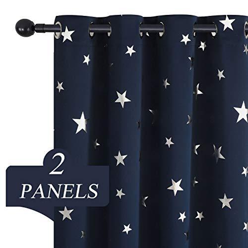 Estelar Textiler Bedroom Living Room Curtains 72 Inch Length Silver Star Blackout Curtains Navy Curtains for Kids Room Sliding Glass Door 38W×72L Set of 2