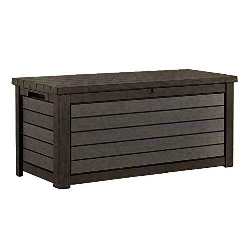 Ondis24 Keter Kissenbox Brushed Wood Box 630L, Sitztruhe 2 Personen, XXL Gartenbox gebürstete Holzoptik, Auflagenbox Kissentruhe regensicher, Garten Sitzbank