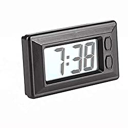 MAGT Digital Clock, Portable LCD Car Dashboard Desk Electronic Clock Date Time Calendar Display Dashboard with Adhesive Pad,Backlit Screen