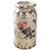 Vases Florero rústico, Tarro de Estilo rústico con Pintura de Flores, Adorno Decorativo para centros de Mesa y Eventos de decoración del hogar (Size : 16×31cm)