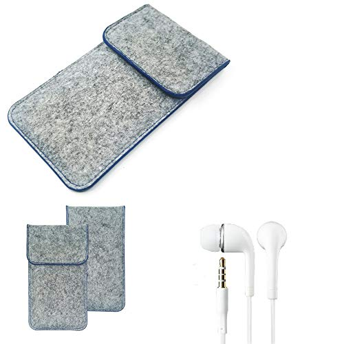 K-S-Trade Protective Felt Case Compatible With Lenovo Z5 Protective Bag Pouch Sleeve Mobile Phone Cover Light Gray, Blue Edge Edge + Earphones