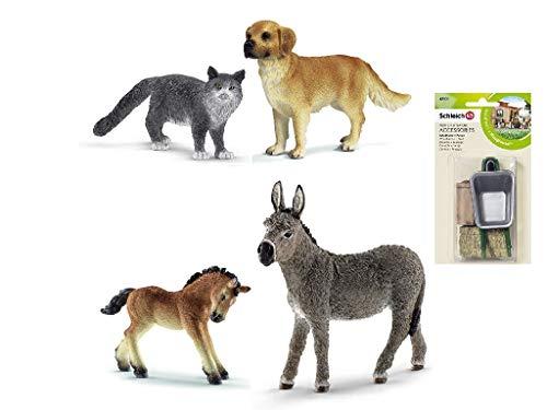 Schleich | Bauernhof Tiere | Ardenner Fohlen 13779 | 16335 Golden Retriever | 13893 - Maine-Coon-Katze | 13772 Esel | 42131 Schubkarre und Futtermittel