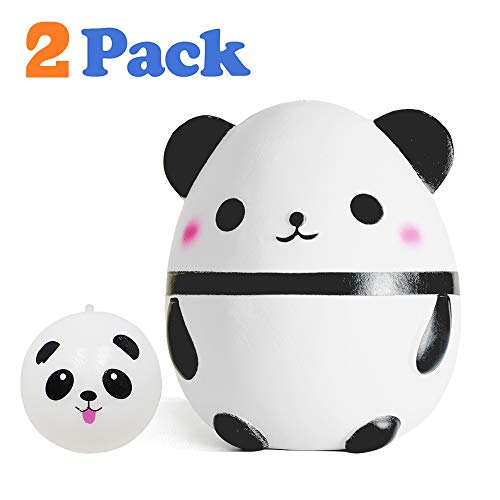 VCOSTORE Jumbo Squishies Panda Egg & Bread Buns Pack , Slow Rising Squishy Soft and Scented Stress Relief Toys for Adults Kids Party Favor