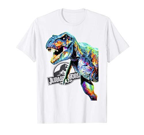 Jurassic World Colorful Neon T-Rex Portrait Maglietta