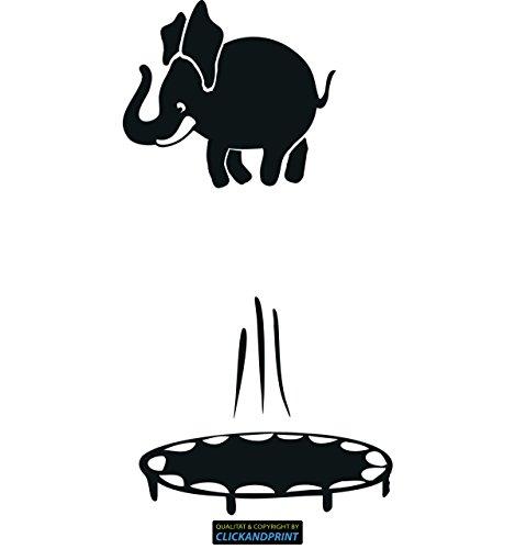 CLICKANDPRINT Aufkleber » Trampolin - Elefant, 240x126,2cm, Carbon Oracal schwarz matt • Dekoaufkleber/Autoaufkleber/Sticker/Decal/Vinyl