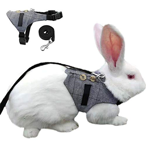 Cute Rabbit Harness and Leash for Walking,No Pull Adjustable Formal Suit Style Plaid Stripe Harness for Rabbit Kitten Chinchilla, Squirrel, Marten & Mink Small Animal(2 Pcs) (S)