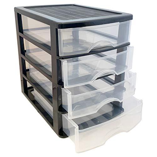 Plastic Forte - Cajonera de plástico Negra 4 cajones 21,5 x 17,5 x 23 cm