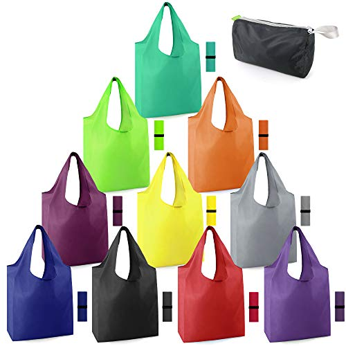 ReusableGroceryBagsFoldableMachineWashableReusableShoppingBagsBulk Colorful 10 Pack 50LBS Extra Large Folding Reusable Bags Totes w Zipper Storage Bag Sturdy Lightweight Polyester Fabric