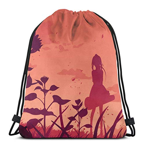 WH-CLA Drawstring Backpack Bags,Anime Your Lie In April Drawstring Bags Foldable Gym Bag Unisex School Backpack Portable Sackpack Backpack For Girls And Boys