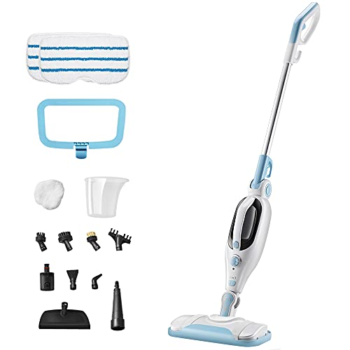Steam Mop Cleaner 12-in-1 Handheld Steam Cleaner Detachable Floor Steamers for Hardwood Laminate Tile Floor, Multi-functional Steam Mops w/ 11 Accessories&2 Mop Pads for Home Use Carpet Kitchen Window