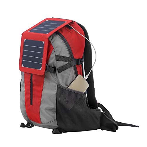 WishY Portable Solaire Sac A Dos(7W), Chargeur Solaire Sac A Dos, avec 1 Ports USB(5V) Panneau Solaire, Randonnée, à L'extérieur, d'urgence, Téléphone Portable, Ect,Red
