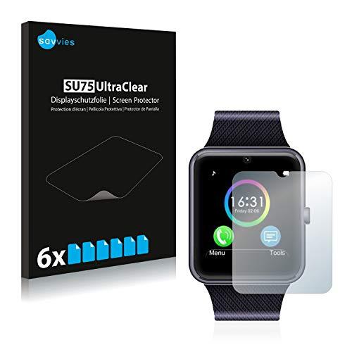 Savvies 6X Schutzfolie kompatibel mit Yamay Bluetooth Smartwatch SW016 Displayschutz-Folie Ultra-transparent