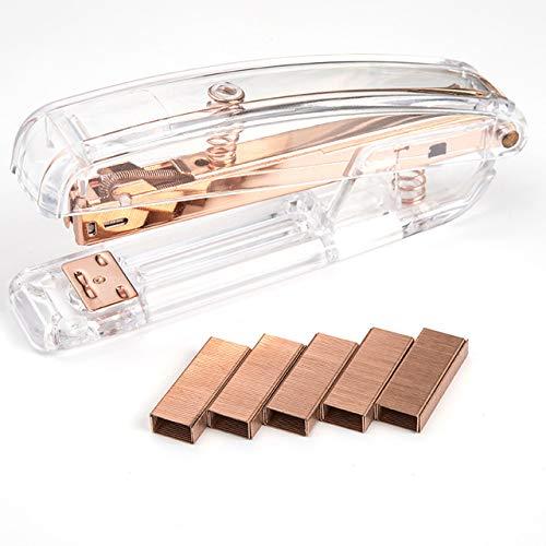 Acrylic Stapler,Desk Stapler,Office Stapler,Non-Slip, Stapler for Office and Home ,25-Sheet Capacity (Rose Gold)