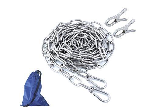 ステンレスロープ リンクチェーン 物干しロープ 洗濯ロープ ハンガー掛け 省スペース 防風 防錆 屋外 屋内 家使用可 (4M)