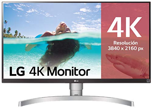 "LG 27UL650-W - Monitor 4K UHD de 68,6 cm (27"") con Panel IPS (3840 x 2160 píxeles, 16:9, 350 cd/m², sRGB >99%, 1000:1, 5 ms, 60 Hz) Color Plata y Blanco"