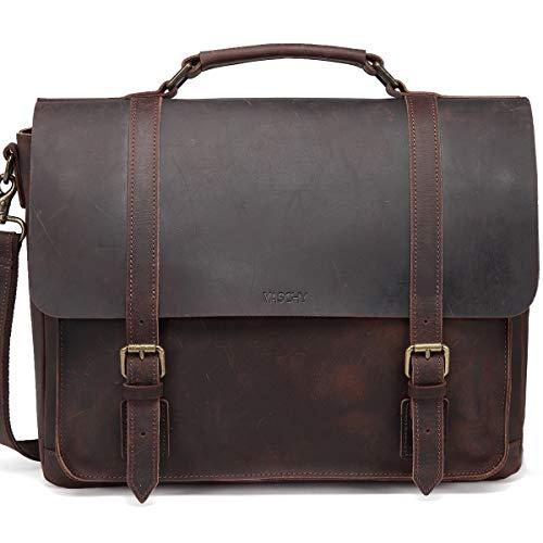 Messenger Bag for Men, Vaschy Genuine Leather Shoulder Bag Full Leather Laptop Bag for 15 Inch Vintage Satchel Briefcase with Detachable Strap (Coffee-Full Leather)