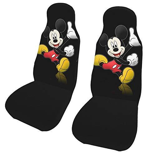 ESCFLAG Fundas de asiento de coche de Mickey Minnie, lavable, suave protector decorativo, se adapta a la mayoría de los coches, camiones, furgonetas, SUV, asientos delanteros