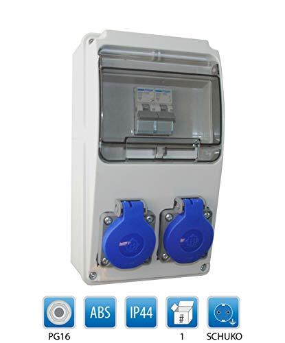 Baustromverteiler/Wandverteiler 2 x Schuko 230V/16A verdrahtet + HAGER LS
