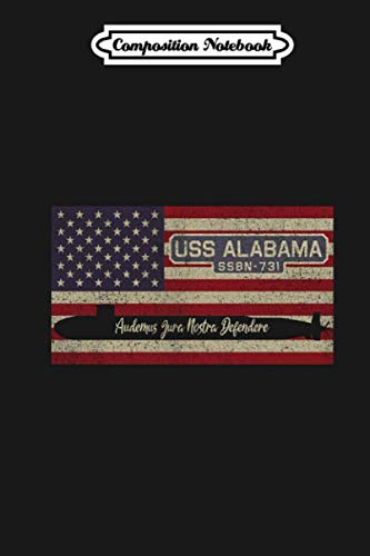 Composition Notebook: Uss Alabama Ssbn-731 Ohio Class Fleet Ballistic Missile Submarine Vintage American Flag Gift Journal/Notebook Blank Lined Ruled 6x9 110 Pages