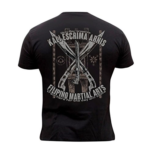 Dirty Ray Martial Arts Filipino Kali Escrima Arnis Men's T-Shirt DT22C (XXL) Black