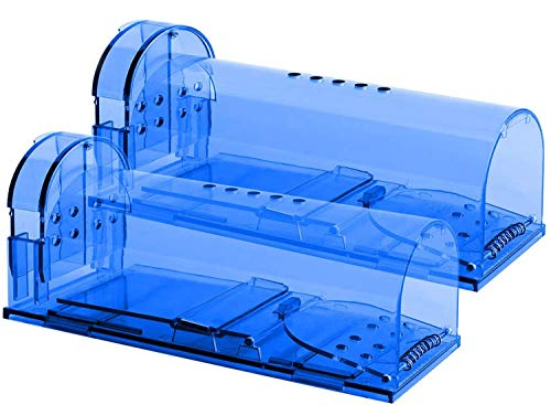 Humane Mouse Trap - 2 pack Catch and Release Mouse Traps that Work - Mice Trap No Kill for mice rodent - Pet Safe Dog Cat - Best Indoor/Outdoor Mousetrap Catcher Non Killer Small Mole Capture Cage