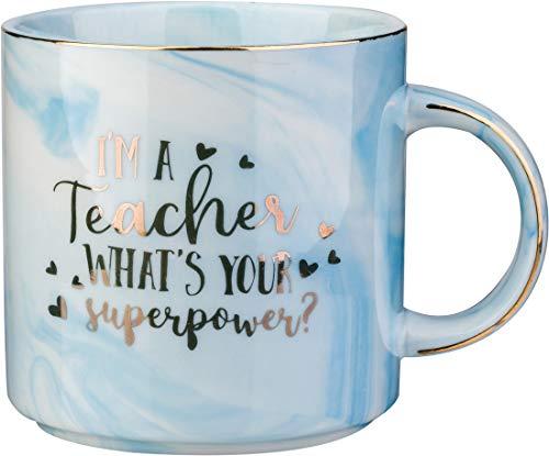 I'm A Teacher, What's Your Super Power- 12 OZ Ceramic Marble Coffee mug Tea Cups-Funny New Teachers Gifts Ideas For christmas(blue)
