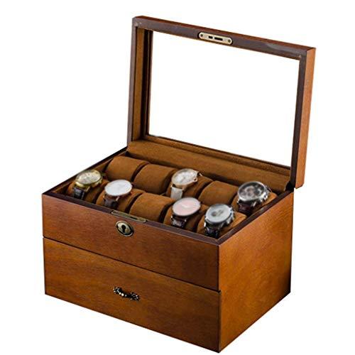 Zjnhl WEI Watch Display Box Watch Box - Glass Lid 20 Slots Wristwatches Jewellery Display Storage Case Bracelet Tray Showcase Organizer Soft Pillows and Lockable Metal Lock