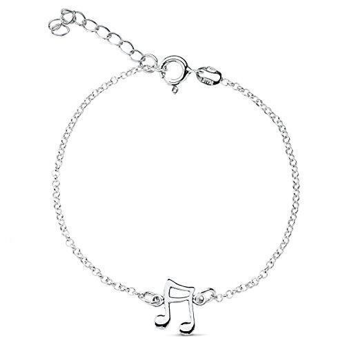 Iyé Biyé Jewels - Pulsera Mujer niña Plata de Ley 925 Nota Musical Cadena rolo 19 cm Ajustable.